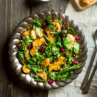 Vegan Roasted Acorn Squash and Quinoa Salad with Cranberries and Orange Maple Tahini Dressing