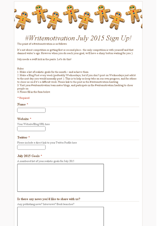 #Writemotivation July 2015 Sign Up!