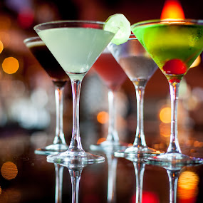 Martini Reflection by Jim DeMicco - Food & Drink Alcohol & Drinks ( reflection, martini, drink, glass, bokeh )