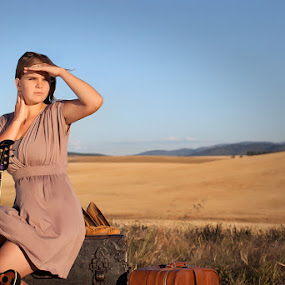 Roads Not Traveled by Shaun Schlager - People High School Seniors ( class of 2013, 2013, dirt road, senior portraits, road, katie may, idaho, hobo, trunk, woman, dress, summer, guitar, dirt, fields, people. portrait )