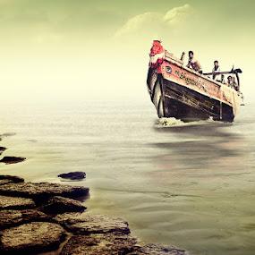 Boat Nearing by Subrata Kar - Transportation Boats ( water, reflection, sea, boat, rocks )