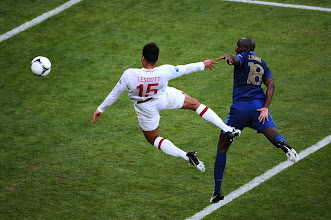Photo: Joleon Lescott of England scores the first goal past Hugo Lloris of France during the UEFA EURO 2012 group D match between France and England at Donbass Arena on June 11, 2012 in Donetsk, Ukraine.