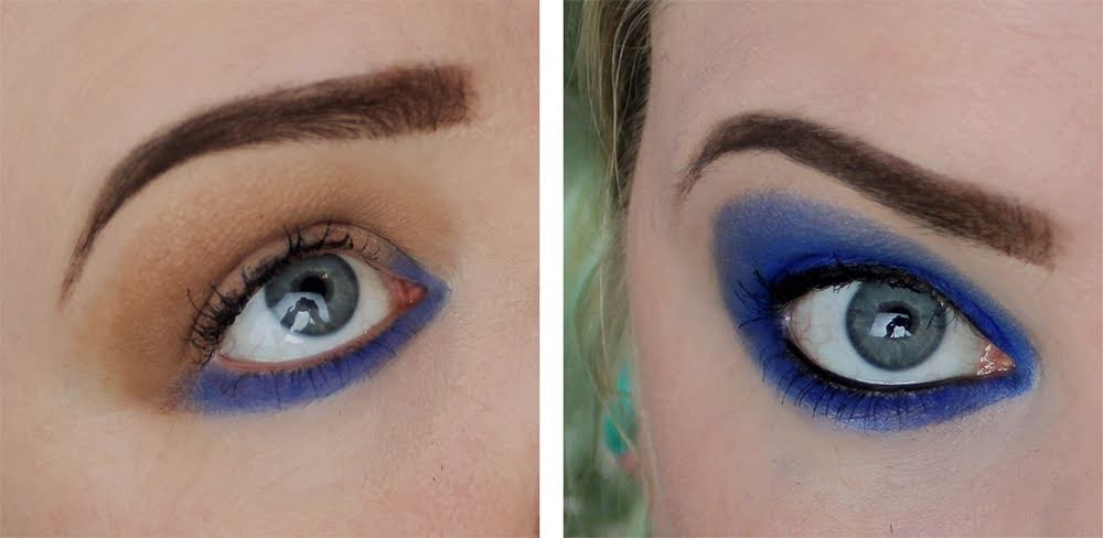 blue eyeshadow pop of colour blue eyes strong glam makeup