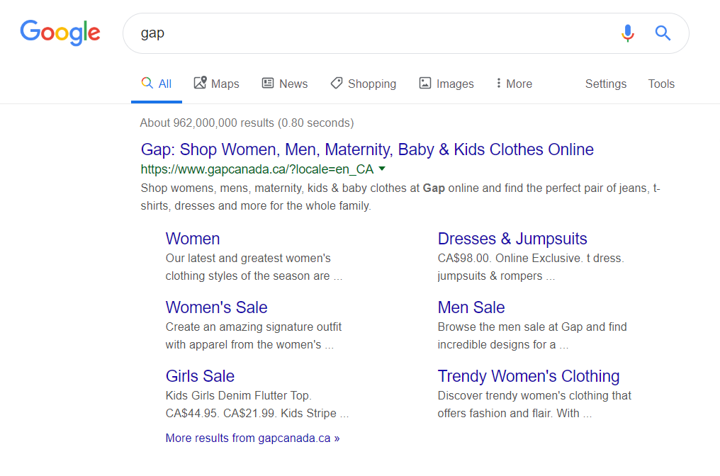 "On-page SEO: Google results for ""Gap"" showing a submenu of the website."