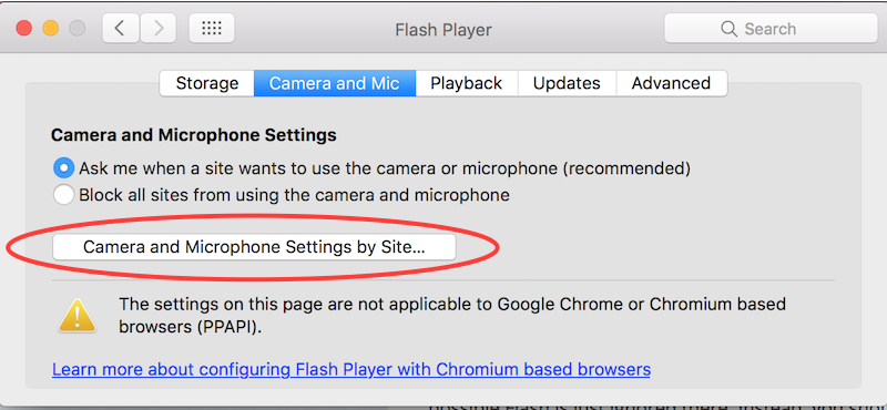 Camera and Microphone Settings