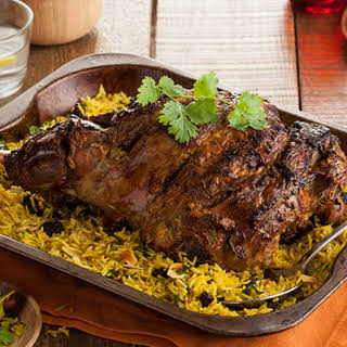 Indian-spiced Leg Of Lamb With Pilau Rice.