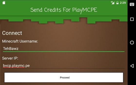 Send Credits For PlayMC.PE