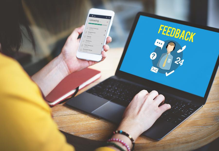 Women giving feedback on laptop