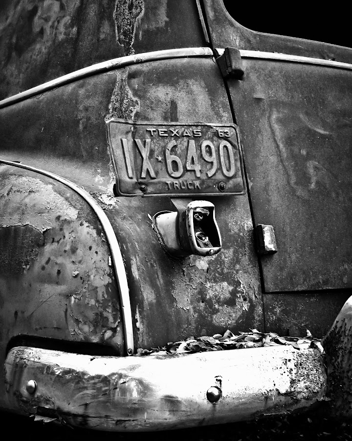 Texas 63 by Roger Armstrong - Transportation Automobiles ( monochrome, vehicle, texas, auto, antique, rustic, abandoned )