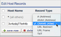 CNAME is selected from the Record Type list.