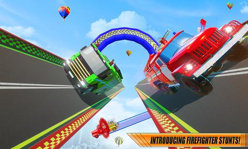 Fire Truck Transform Racing Mega Ramp Stunts Game  screenshots 1