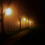 City Park Sidewalk 100 by Kevin Lucas - Digital Art Places ( park, trees, night, glowing, kevin lucas, eye statements, shadows, sidewalk, city at night, street at night, park at night, nightlife, night life, nighttime in the city,  )