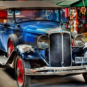 Vintage Blue by Japie Scholtz - Transportation Automobiles ( car, roof, vintage, blue, truck, sports car, vehicle, festival, road, racecar, hot rod, autmobile )