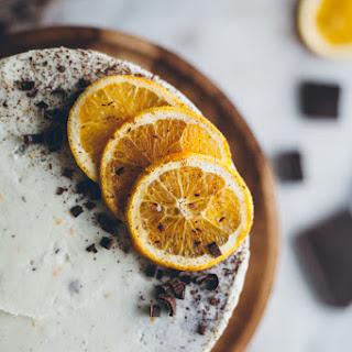 Chocolate Macaroon Cake With Orange Buttercream.