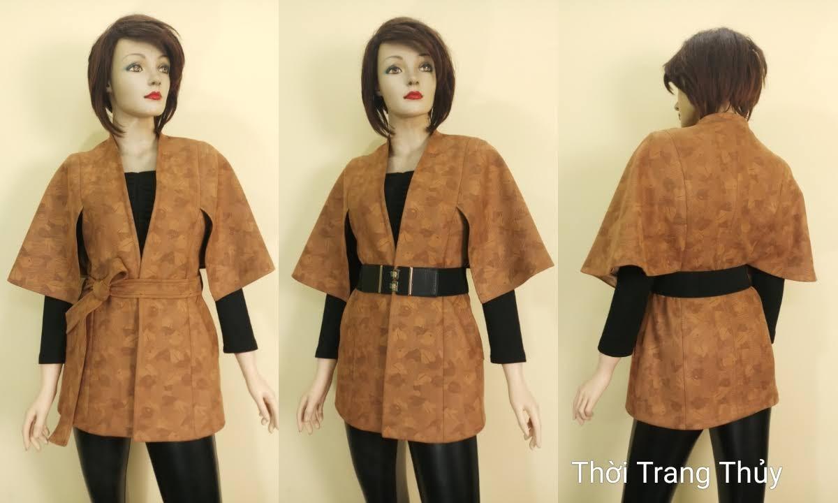 Áo khoác Cape nữ cổ chữ V vải da lộn V668 thời thang thủy