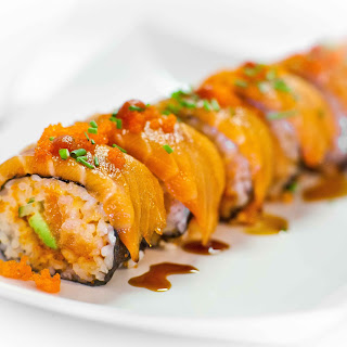 Spicy Salmon Sushi Roll.