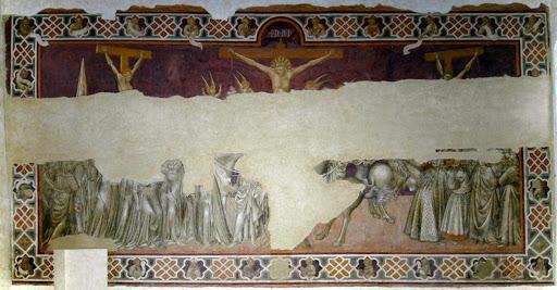 Giovanni di Paolo, Crocifissione, affresco, San Leonardo al Lago, Siena