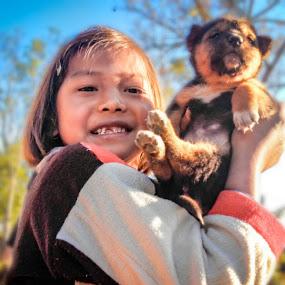 moment of joy by Arubam Meitei - Babies & Children Child Portraits ( joyful, girl, smile, dog, cute,  )
