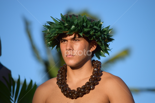 Nude male hula dancer