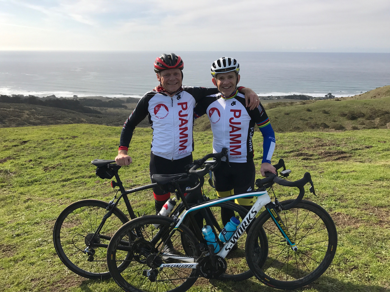 PJAMM Cycling John Johnson and World and National Masters cycling champion Mark Hoffenberg on Coleman Valley Road.