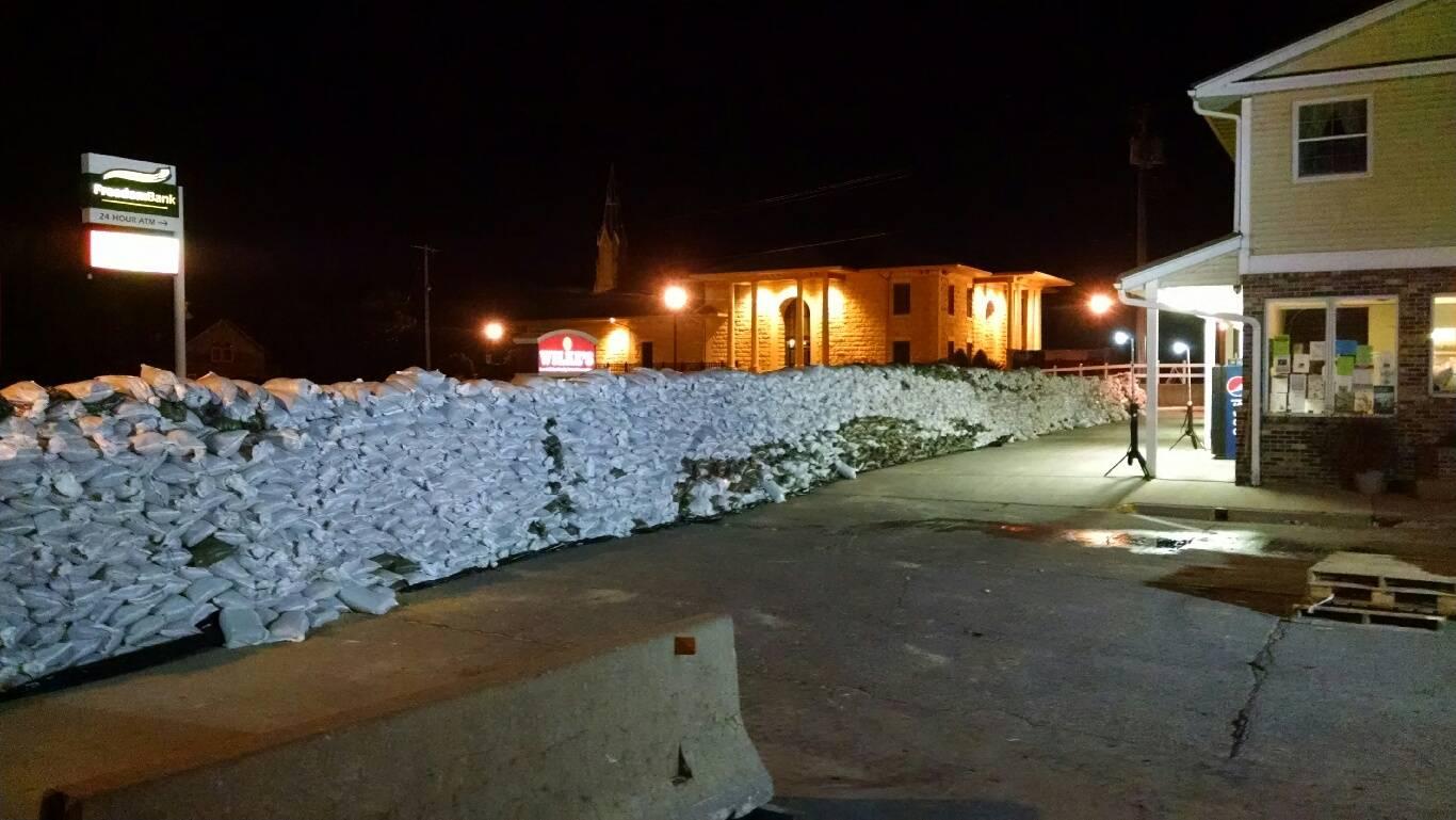 6-8 foot sandbag wall in Elkader, Iowa