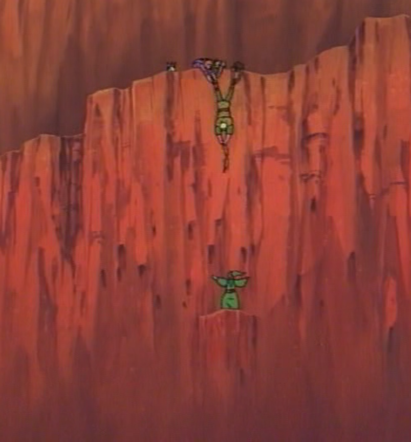 Hank completely fails to come close to helping Presto, who has fallen over a cliff.
