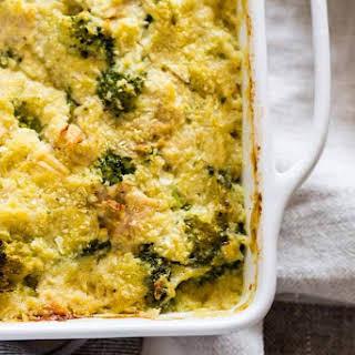 Creamy Chicken Broccoli Cauliflower Rice Casserole.