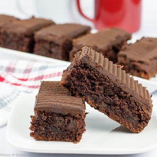 Grain-Free Amaretto Brownies with Chocolate Ganache.
