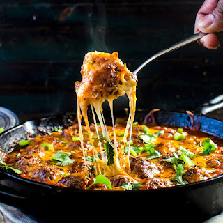 Cheesy Mexican Meatball Skillet with Salsa Puff Pastry Chips.