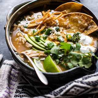 Salsa Verde Chicken and Rice Tortilla Soup.