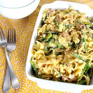 Pasta Carbonara w/Asparagus, Pancetta, & Lemon Herb Breadcrumbs