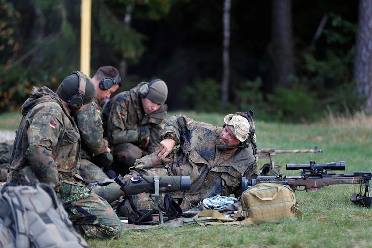 German military personnel attend sniper training. Picture: REUTERS