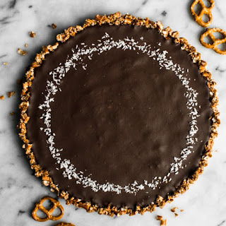 Five-Ingredient Chocolate Coconut Tart with Pretzel Crust