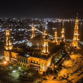 Indonesia Mosque by Irfan Firdaus - City,  Street & Park  Night ( slow speed, travel photography, nature, nightscape, park, low light )