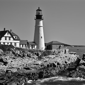 Guarding Casco Bay by Joe Fazio - Black & White Buildings & Architecture (  )