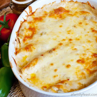 Chicken Enchiladas with White Sauce.