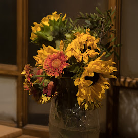 Cut Flowers in Vase by Doug Faraday-Reeves - Artistic Objects Still Life ( flowers, glass, vase, dead, sunflowers )