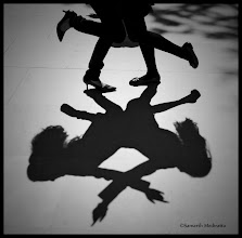 Photo: I was travelling to Shimla to participate in a photography contest at a college fest (St Bedes, an additional incentive to go there was it was an all girls college :D ). The topic given to me was lights and shadows and I was a little iffy because I had never experimented with those. I saw these two girls dancing and I was looking down just to brainstorm for some more ideas. I saw them dancing, and so were their shadows. I didn't miss the moment, and it fetched me the first prize.