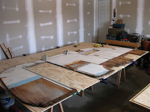 Photo: Right wall seamed together and the old wall used for a template.