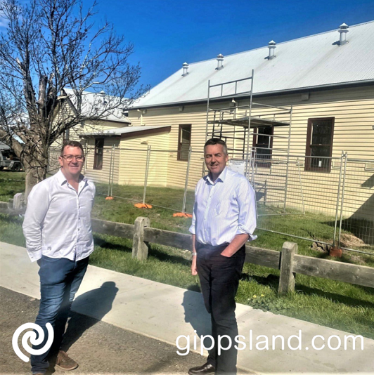 Local MP Darren Chester, pictured with Glengarry Mechanics' Institute CoM President Alan McAuliffe said the works would make the hall more user friendly and versatile for community events and celebrations