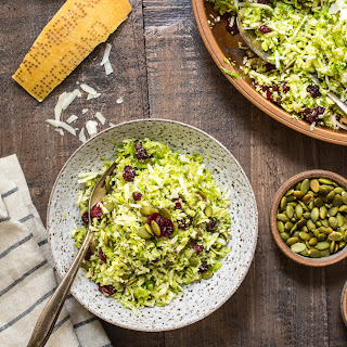 Shaved Brussel Sprouts Salad with Cranberries, Pepitas and Parmesan