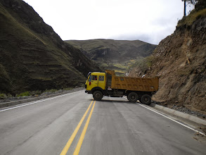 Photo: Not a good start to this day. The road is closed due to a landslide. Looks like it's plan B.