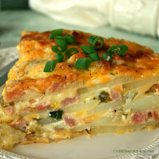 Cheesy Scalloped Ham, Canadian Bacon & Potato Casserole.