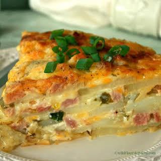 Cheesy Scalloped Ham, Canadian Bacon & Potato Casserole.