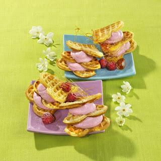 Heart-Shaped Waffles with Raspberry Cream and Spun Sugar