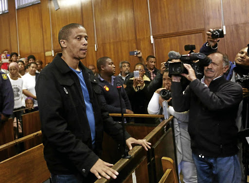 Mortimer Saunders, who killed Courtney Pieters, in a packed court in Goodwood, Cape Town.