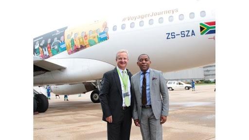 Nedbank CEO Mike Brown and SAA CEO Vuyani Jarana.