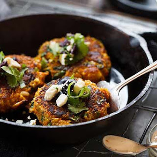 Pumpkin And Quinoa Cakes With Chilli Yoghurt
