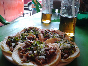Photo: Tacos al pastor in Palenque, with apple soda.  Lunch for $3 for the two of us!