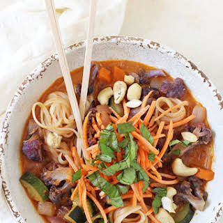 Rainbow Vegetable Curry Noodle Bowls.